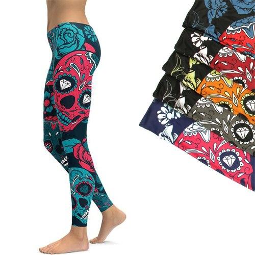 2019 Sports Leggings Yoga Pants Blue Sugar Skull Women Fitness Rapper Leggings Tight Pants Gym Training Sports Running Legging