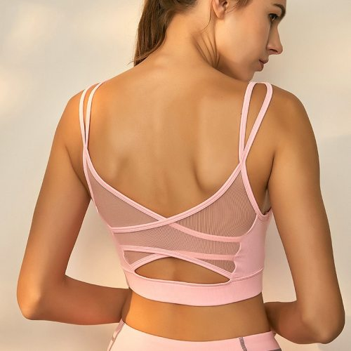 Mesh Breathable Yoga Bra Tops Fitness Women Shockproof Sports Bra Workout Running Sportswear Underwear GYM Sexy Sport Bra