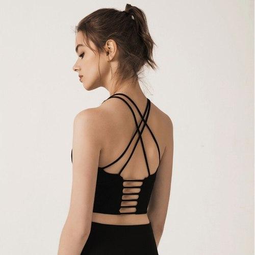Light Support Strappy Sports Bra Women Lattice Hem Yoga Gym Crop Top Comfy Wirefree Brassiere Sport Femme Fitness Vest Tank Tops