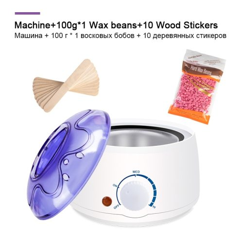 Electric Hair Removal Wax-melt Machine Heater 100g Wax Beans 10pcs Wood Stickers Hair Removal Sets Waxing Kit cera depilatori