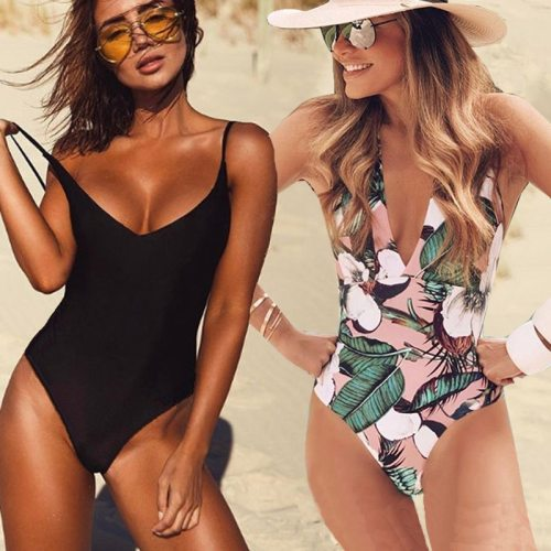 2020 Sexy One Piece Swimsuit Women Swimwear Female Solid Black Thong Backless Monokini Bathing Suit XL
