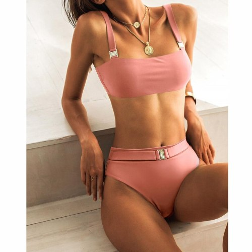 High Waist Bikini 2019 Sexy Women Swimsuit Swimwear Female Solid Bandeau Bandage Brazilian Biquini Bikini Set Bathing Suit Women