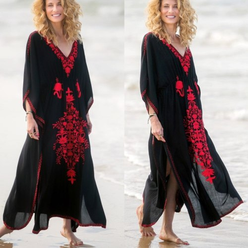 2020 Kaftan Beach Cover Up Women Swimsuit Beach Dress Tunic Bikini Cover Up Pareo Sarong Beachwear Bathing Suit
