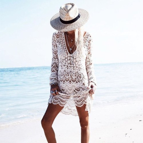 2020 Lace Long Sleeve Beach Dress Tunic Swimwear Women Swimsuit Crochet Bikini Cover Up Pareo Sarong Beachwear Bathing Suit