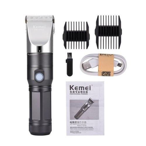 Kemei USB Rechargeable Hair Trimmers Electric Hair Clipper Carbon Steel Blade Hair Cutting Machine Hair Cutter Shaver Razor