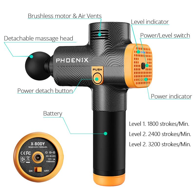 Phoenix A2 Body Relaxation Slimming Shaping Pain Relief Tissue Massage Gun Muscle Massager Muscle Pain Management after Training Exercising