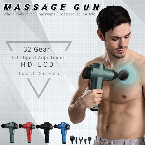 7800r LCD Display Body Massage Gun Exercising Muscle Electric Massager for Back and Neck Vibrator Slimming Shaping