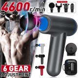 4600r/min Therapy Massage Guns 6 Gears Muscle Massager Pain Sport Massage Machine Relax Body Slimming Relief With 4 Heads