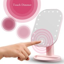 Makeup Mirror with 20 LEDs Cosmetic Mirror with Touch Dimmer Switch Battery Operated Stand for Tabletop Bathroom Bedroom Travel