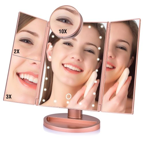 22 LED Makeup Mirror Light 3 Folding Magnifying Vanity Mirror Cosmetics 1X/2X/3X/10X Magnifier Touch Screen Table Desktop Lamp