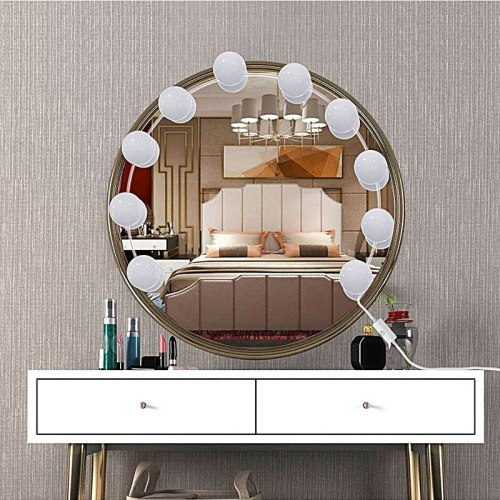 10 BulbsMakeup Mirror Vanity LED Light Bulbs Kit USB Charging Port Cosmetic Bulb Adjustable Make up Mirrors Brightness lights
