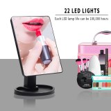 22/16 LEDs Makeup Mirror Cosmetic Mirror wtih Touch Dimmer Switch Battery Operated Stand for Tabletop Bathroom Bedroom Travel