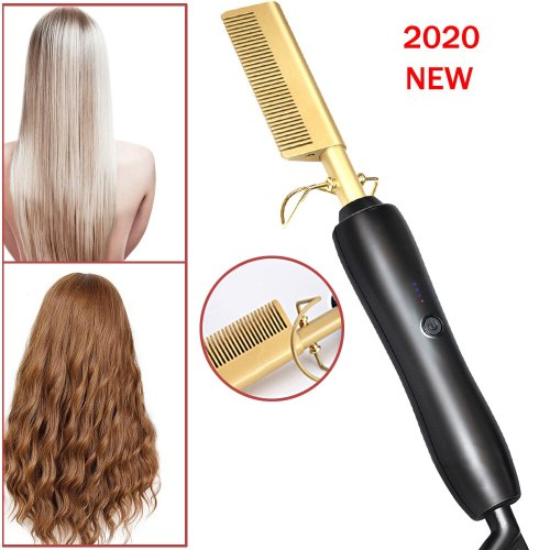Hair Curlers Electric Curling Brush Hot Comb Ceramic Hair Brush Hair Straightener Comb  2 in 1 Straightening Curling Iron