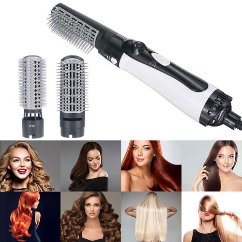 Hair Dryer With Comb 1200W Round Brush Blow Dryer Rotating Hot Air Brush Multifunctional Hair Straightener Comb Curling Brush