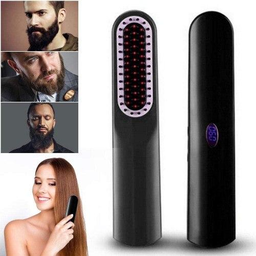 Men Beard Straightener Styler Comb Multifunctional Cordless USB Hair Straightening Brush Wireless Hair Straightener Beard Brush