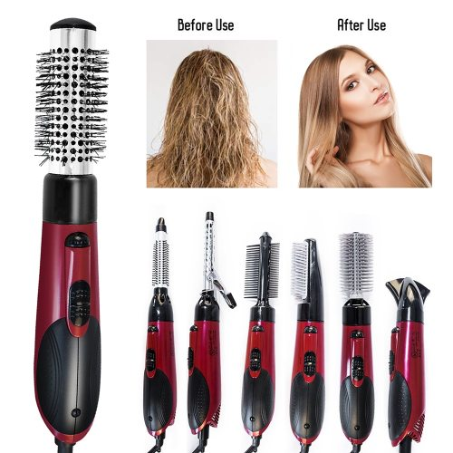 Multifunctional Hair Dryer 7 In 1 Blow Dryer Round Brush Rotating Hot Air Brush Hairdryer with Air Nozzle Hair Straightener Comb