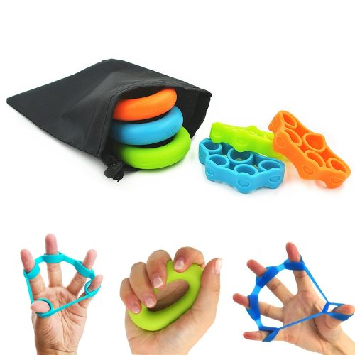3 Levels Finger Stretcher Resistance Bands Finger Grip Exerciser Hand Grip Trainer Rings for Relieve Pain Injury Rehabilitation