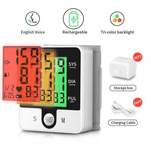 USB Rechargeable Automatic Digital Wrist Blood Pressure Monitor Russian English Voice Electric Tonometer Sphygmomanom PR