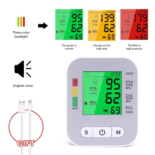USB Rechargeable Blood Pressure Monitor English Voice Automatic Electric PR Tonometer Digital LCD Screen Sphygmomanometer