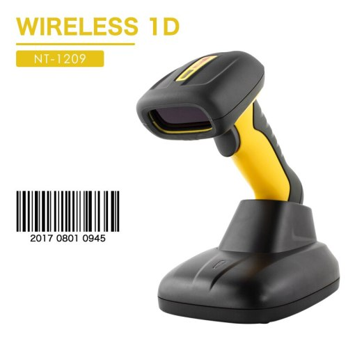 Wireless Barcode Scanner Waterproof Handheld 32Bit USB 1D Laser Bar Code Reader Scan A4 for POS System NT-1209