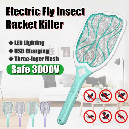 USB Rechargeable Electric Fly Mosquito Swatter Mosquito Killer Protect Human Bug Zapper Handheld Racket Insects Killer With LED