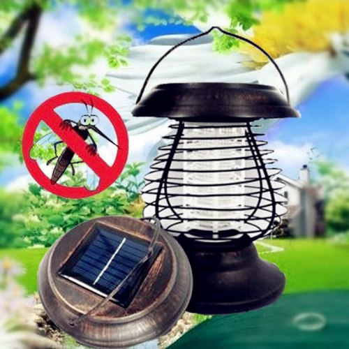 Outdoor Solar Powered Portable LED Solar Mosquito Killer Lamp Insect UV Bug Killing Pest Lamp Garden Landscape Wall Light