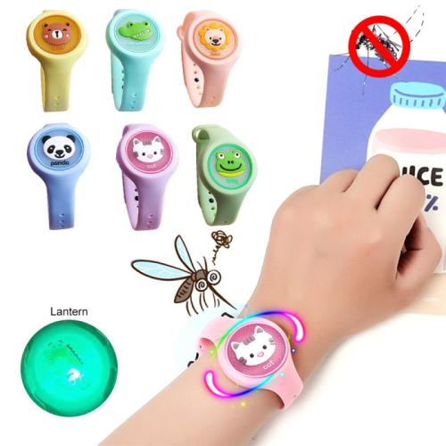 1PCS Random Color Children's Cartoon Mosquito Repellent Bracelet Plant Essential Oil Mosquito Repellent Ring Wristband Watch