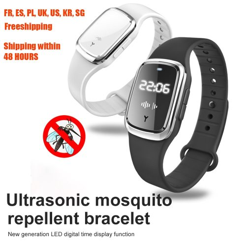 Portable Mosquito Repellent Bracelet Ultrasonic Mosquito Repellent Watch Capsule Insect Bugs Anti-mosquito Electronic clock