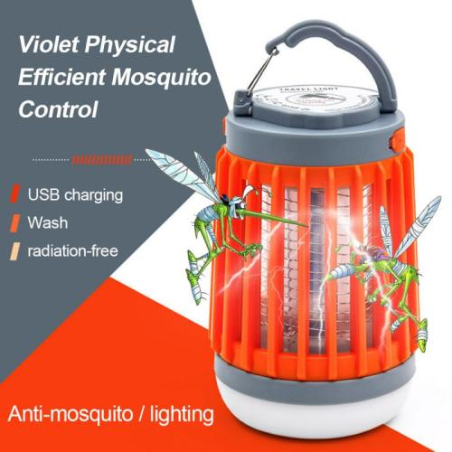 Solar Electric Shock Mosquito Killer Lamp Ultraviolet Mosquito Repellent Trap Lamp Waterproof Mosquito Trapper Lamp USB Charging