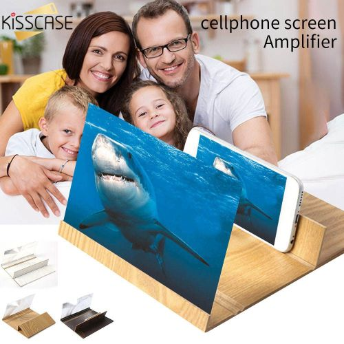 12 inch Mobile Phone Screen Magnifier Wood 3D Enlarged Screen Mobile Phone Amplifier HD Video Projector Holder Stand Desktop
