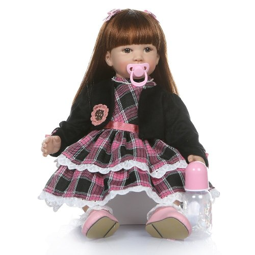 6 Month real baby size 60CM reborn  toddler girl realistic soft silione vinyl bebe doll reborn  long straight hair education toy