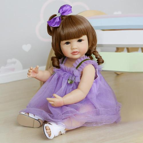 55CM Two hair colors original soft full body silicone bebe doll reborn toddler girl princess baby doll waterproof bath toy