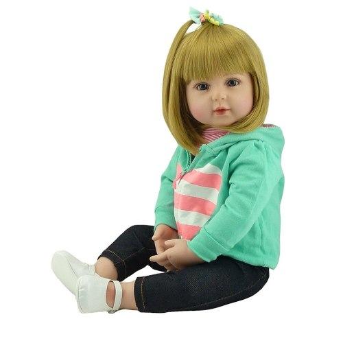 New Blond hair 47/60cm boneca reborn silicone reborn baby dolls com corpo de silicone menina baby dolls kids birthday Xmas gift