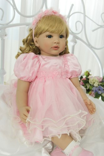 60CM  reborn toddler girl curly blonde hair princess in pink skirt high quality collectible  doll lifelike baby