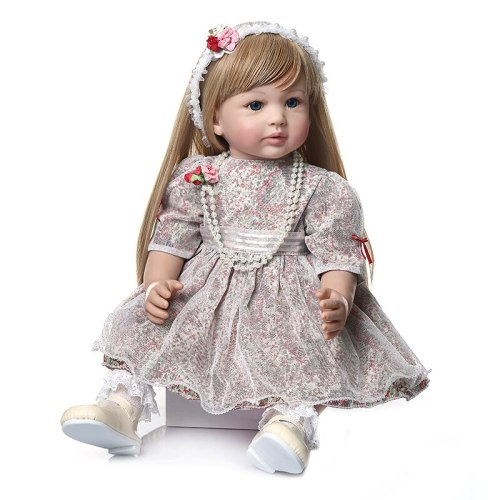 60CM high quality collectible doll princess reborn toddler girl doll  with ultra long blonde hair doll hand-made doll
