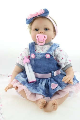 55CM Reborn Baby Doll Lifelike Soft Silicone Realista Fashion Baby Dolls For Princess Children Birthday Gift Bebes
