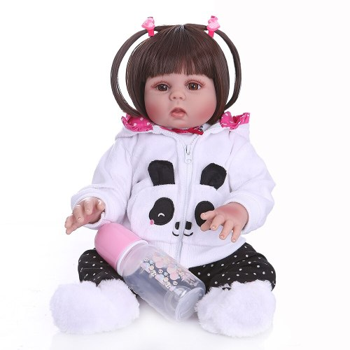 48CM  full body soft silicone reborn toddler doll girl in panda dress realistic flexible baby lovely baby