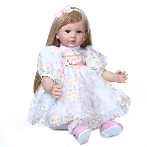 60CM high quality  reborn toddler baby girl doll with ultra long blonde hair doll beautiful princess Christmas Gift