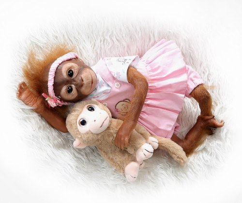 New 52CM  handmade detailed paint  reborn baby Monkey  newborn baby doll collectible art high quality