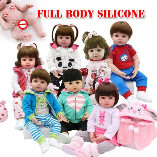 Hot selling 48cm Full body silicone reborn toddler baby dolls lifelike soft touch bebe doll water proof bath toy