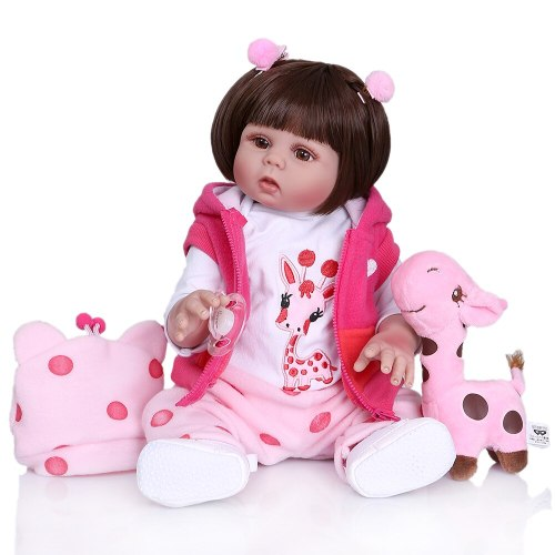 48CM newborn bebe doll baby girl in Rose red dress full body soft silicone realistic baby  lifelike baby