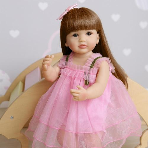 55CM   toddler pink girl original lifelike bebe doll reborn soft full body silicone sweet face baby doll waterproof bath toy