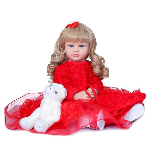 60CM collectible toy doll Christmas Gift high quality doll reborn doll beautiful princess toddler girl with long brown hair