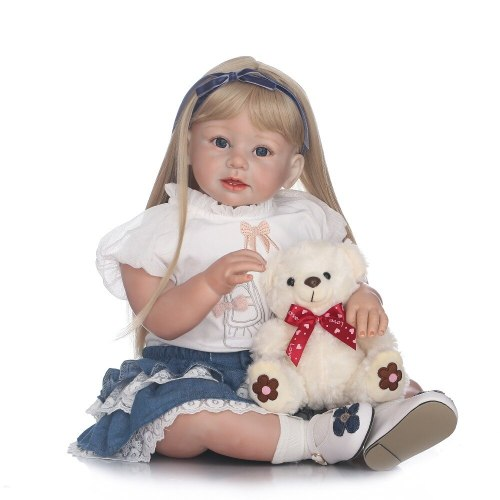 NEW lifelike reborn toddler doll soft silicone vinyl real gentle touch 28inches children gift