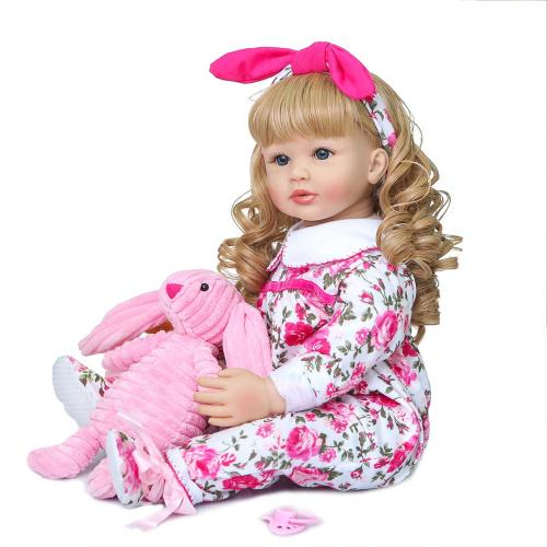 60CM reborn doll  toddler girl  silicone collectible toy doll Christmas Gift high quality doll handmade doll