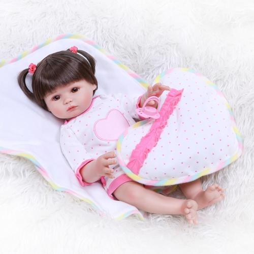 47CM handmade full body soft silicone reborn baby doll bath toy lovely girl doll gift