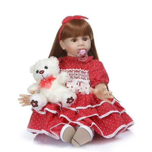 60CM big real baby size 6-9Month princess  toddler Fridolin soft silicone bebe doll reborn long hair baby