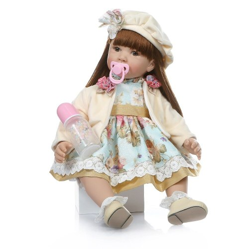 Big size 60CM reborn  toddler  girl lifelike bebe doll reborn  long straight brown-red hair 6 Month real baby doll