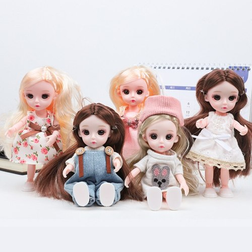 16cm BJD Doll,1/12 SD Dolls 13 Ball Jointed Dolls with Clothes Outfit Shoes Wig Hair Makeup Comb Doll Toys Best Gift for Girls