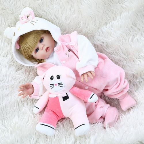 48CM full body soft silicone bebe doll reborn baby girl in pink Kitten dress set lifelike flexible baby doll